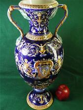 ANTIQUE FRENCH FAIENCE SIGNED GIEN MAJOLICA FIGURALTWO HANDLE VASE PALATIAL SIZE
