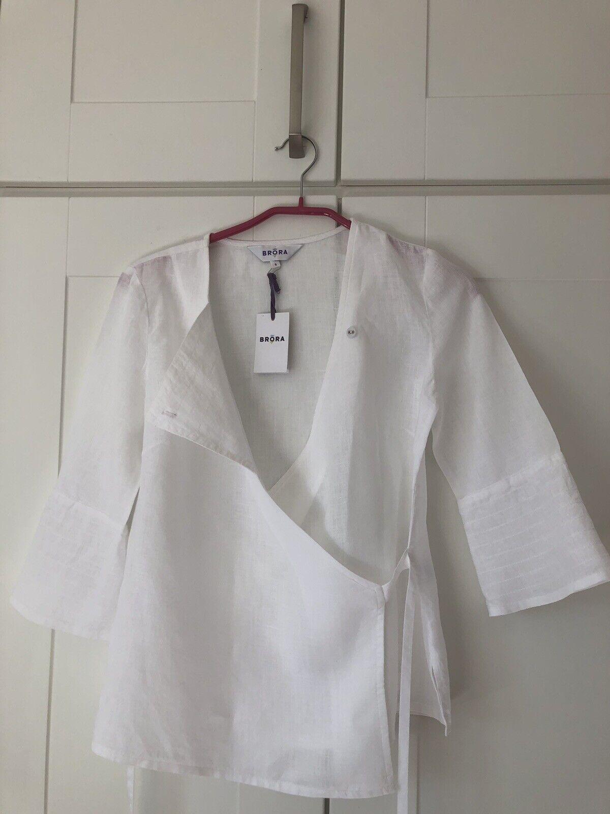 Brand New BNWT Brora 100% Linen White Kimono Blouse UK Size 6