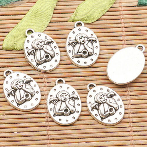 10pcs tibetan silver color oval shaped thinking angel design  charms EF2580