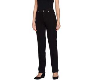 Isaac-Mizrahi-Live-Women-039-s-Knit-Denim-Straight-Leg-Jeans-Pant-Black-Size-14-QVC