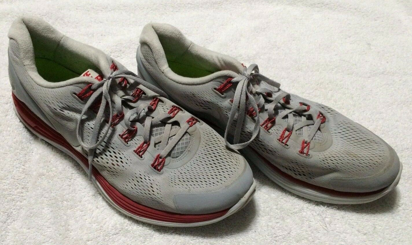 987054f470f02 Nike Lunarglide+ 4 Mens Mens Mens Grey   red Mesh Running Shoes Size 14  e9a83c