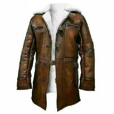 Leather Trench Long Coat Men Winter Genuine Lambskin Brown Jacket New Stylish