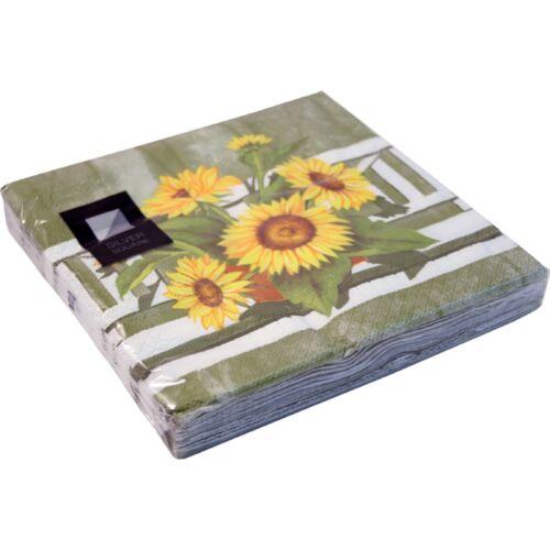 100 x Sunflower 3 Ply Paper Napkins 33cm x 33cm Party Serviettes Tableware Cater