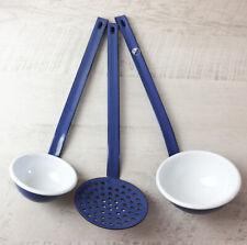 #10519 Kellenset Suppenkelle Schaumlöffel Kelle Küche Email Emaille Weiß Blau