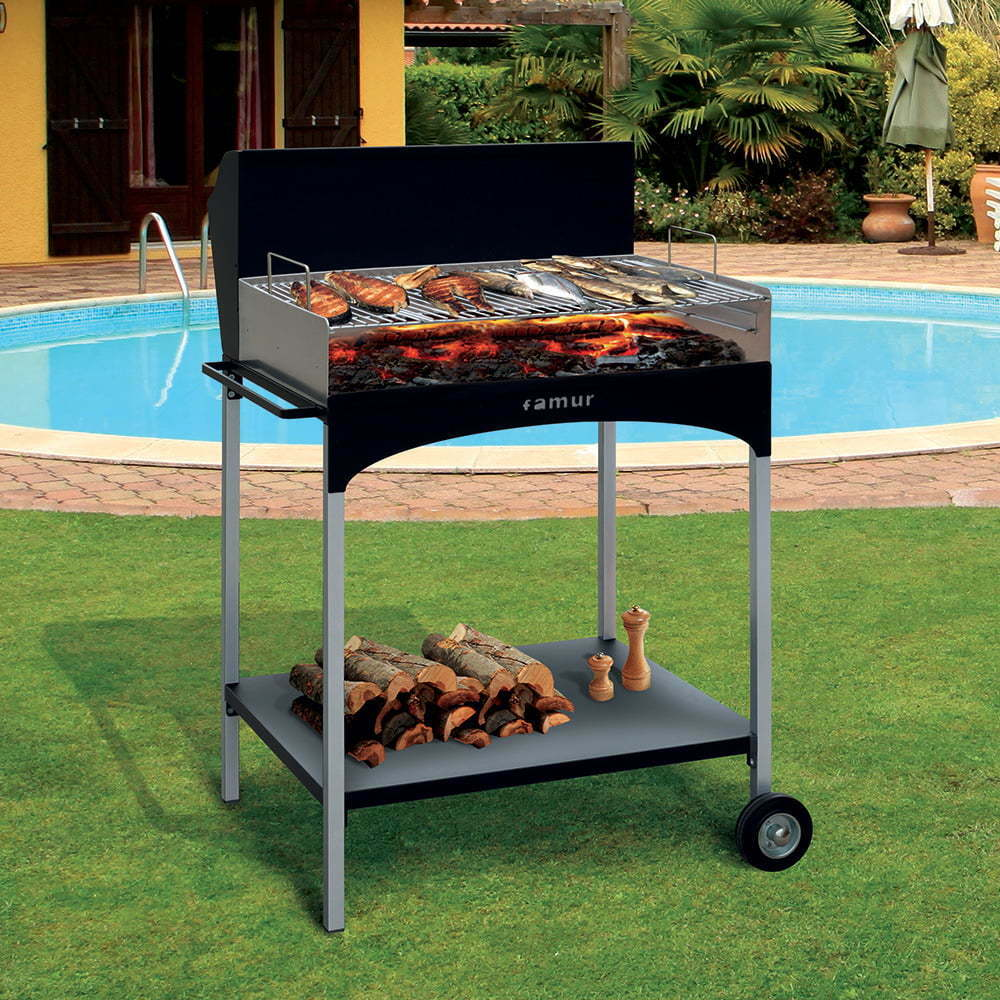 Barbecue a Legna con Griglia in Ferro Cromato Famur BK 8 Eco