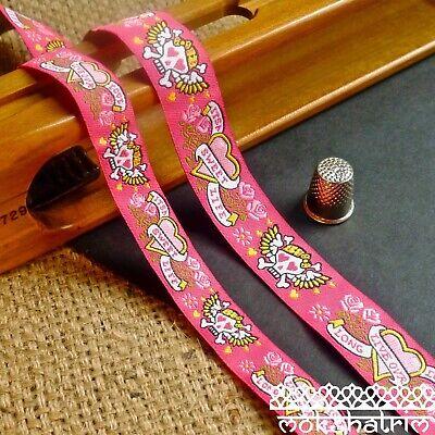 Long Live Our Love Pink Skull Tattoo Jacquard Art Ribbon Dog Collar MA913