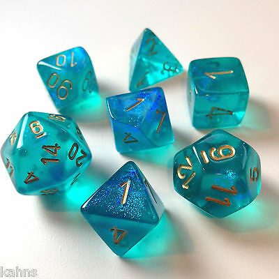 Chessex Dice Poly - Borealis Teal with Gold- Set Of 7- 27486 - Free Bag! DnD
