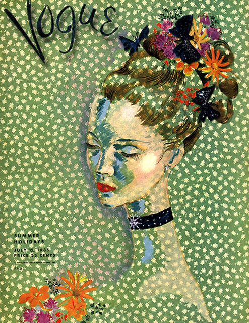 Vintage Art Deco-Vogue Poster/Art Print/'Flowers in Her Hair' 17x22 1935 cover