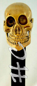 Unique-Antique-Skull-Head-Solid-Brass-Walking-Stick-Victorian-Wooden-Cane-36-034
