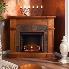 "Oak Electric Corner or Flat Fireplace Mantle Fireplaces 45"" Mantel Heater TV top"