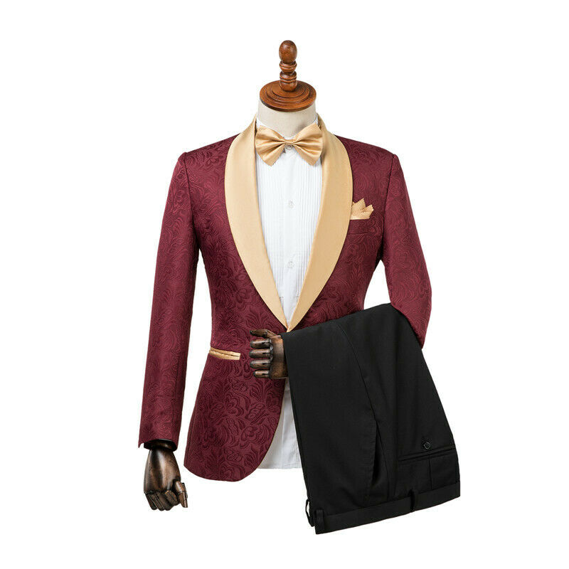 Tuxedos Groom Tuxedos One Button Burgundy gold Shawl Lapel Formal Best Man Suits