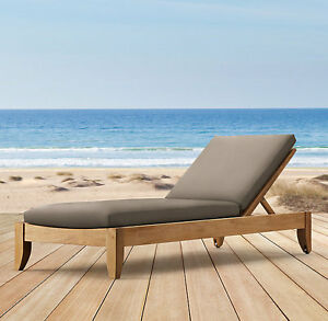 A GRADE TEAK CHAISE SUN POOL LOUNGER OUTDOOR GARDEN PATIO FURNITURE - ATNAS NEW