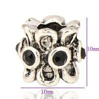 5pcs Tibetan Silver Black Vintage Charm Bead fit European Crystal Bracelet