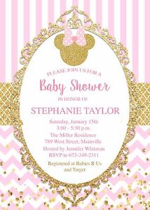 Image Is Loading Minnie Mouse Princess Gold Pink Baby Shower Invitation