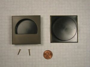 RECESSED FLUSH PULL, 50mm BORE, DARK BRONZE FINISH, 10mm BORE DEPTH, 57mm SQUARE