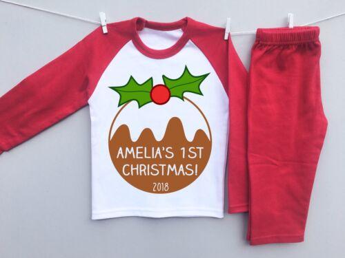 PERSONALISED BABY/'S 1st CHRISTMAS toddler pyjamas set xmas pudding cute