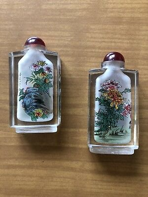 2 Antike Flakon Von Innen Bemalt Japanisch/ Chinesisch Waren Des TäGlichen Bedarfs