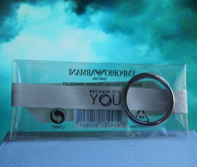 Emporio Armani ivory ribbon bracelet metallic silver tone ring men women NWT