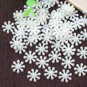 100X-fiocco-di-neve-Flatback-Natale-Artigianato-Fai-da-Te-Accessori-Per-Feste-Decorazioni