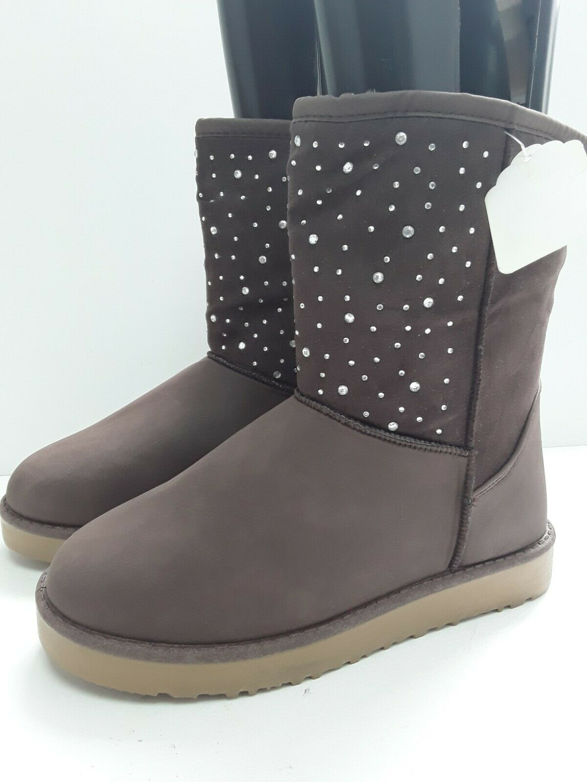 Ladies Warm Cosy Snow Boots Brown Diamantee New Fur Lined Size 38 UK 5 flat