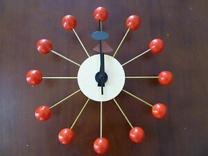 Retro-Red-Wood-Ball-Wall-Clock-Classic-Modern-Design-George-Nelson-Replica