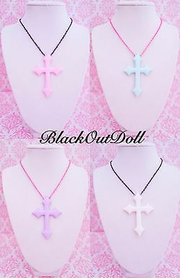 NEW! Pastel Goth Soft Grunge Harajuku Kawaii Cross Crucifix Necklace