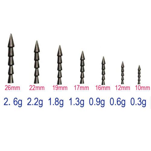 15pcs Pure Tungsten Pagoda Wacky Nail Sinkers Pencil Worm Fishing Insert Weights