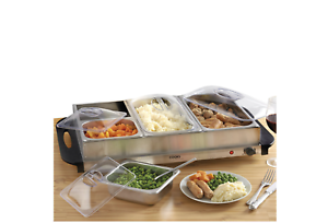 Buffet Server Hotplate Food Warmer Hostess with 4 Removable Sections Adjustable