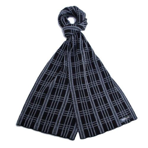 NUOVA Sciarpa Lunga Classico Nero e Bianco Semplice Stile Invernale OTTIMO PER REGALO stagionale