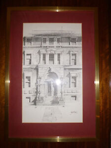 Vintage-Architectual-Pencil-Drawing-by-Fred-Williams-1930-86-Framed-Art-PRINT