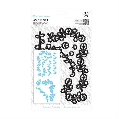 Use in Xcut Sizzix eBosser etc Docrafts 9 piece A5 sheet Floral Borders die set