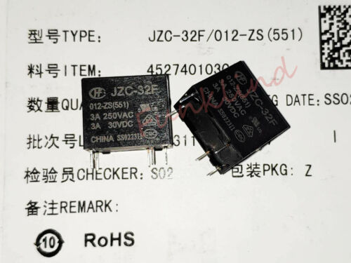 10PCS JZC-32F-012-ZS Power Relay 12VDC 3A 250VAC 5 Pins 551