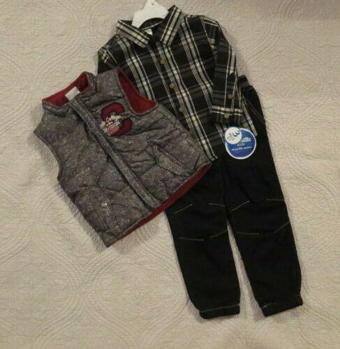 Nannette Kids Toddler Boys 3 Piece Outfit 2T 4T Plaid Shirt Vest Jogger Jeans