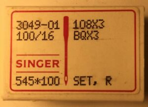 BOX OF 100 SINGER INDUSTRIAL SEWING NEEDLES 108X3 SIZE 100/16 -FREE SHIPPING-