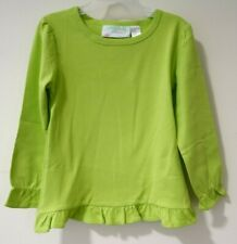 Brand New Lolly Wolly Doodle Lime Green Ruffle Hem Top Size 8-9 Great 4 Monogram