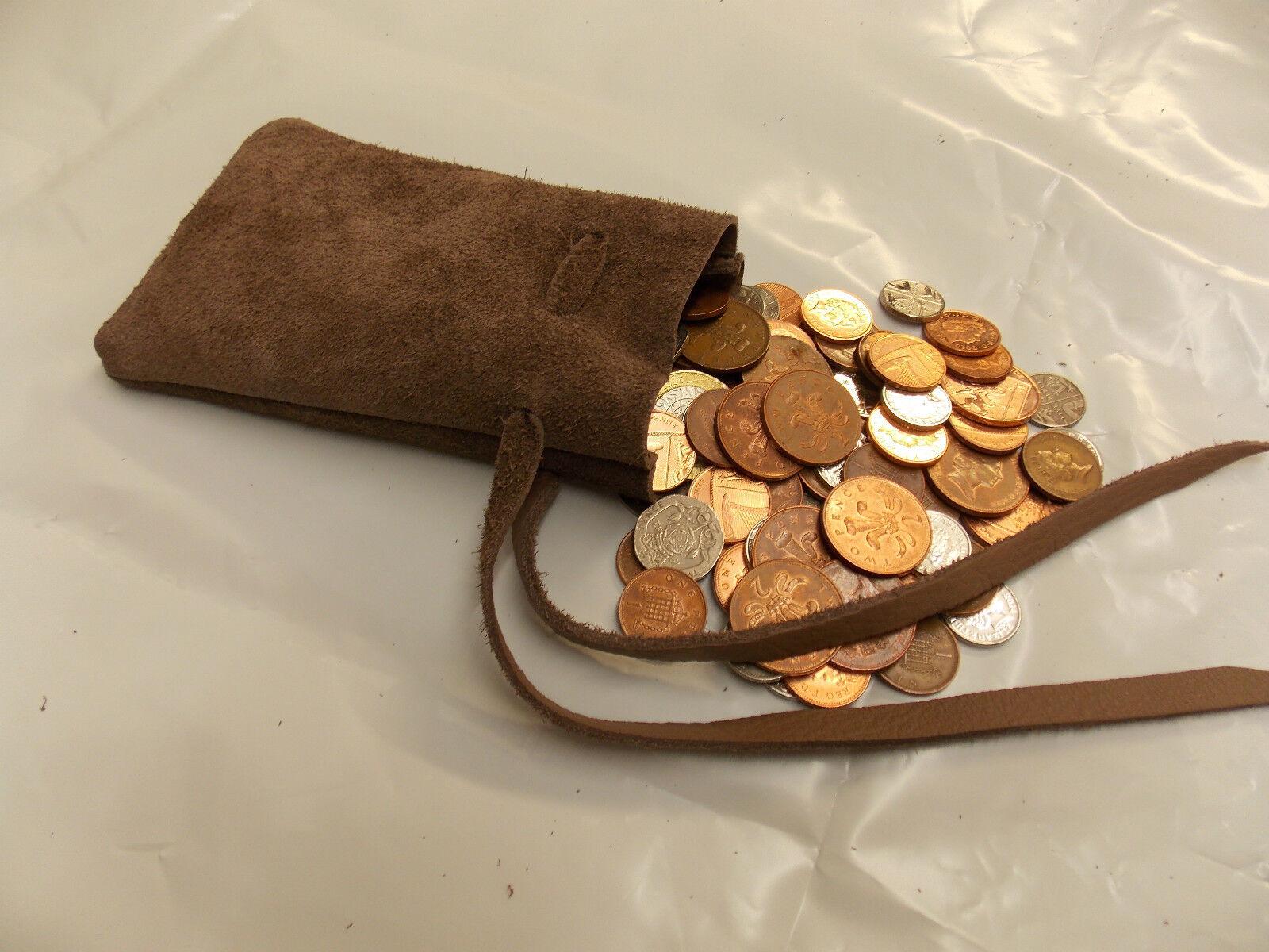 Médiéval / Larp / sca / reconstitution vison marron cuir en cuir marron / pochette ARGENT avec cordon de serrage sac f3b009