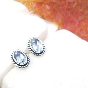Blautopas-oval-blau-Design-Ohrringe-Ohrstecker-Stecker-925-Sterling-Silber-neu