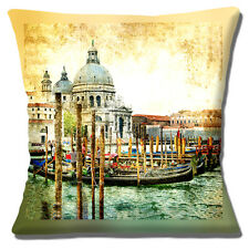 "NEW Vintage Retro Venice Grand Canal Scene Gondolas16"" Pillow Cushion Cover"