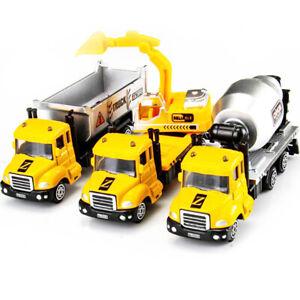 3PCS camión Hormigonera Excavadora Construcción de dumping Modelo Diecast Vehículo niño