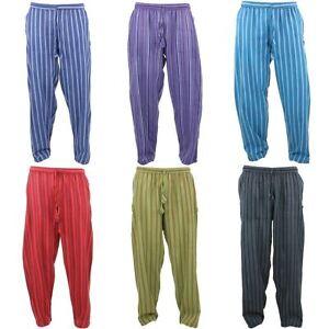 AgréAble Nepalese Coton Pantalon Pantalon Rayé Gringo Ample Lumière Hippy Élastique Baggy-afficher Le Titre D'origine Haute SéCurité