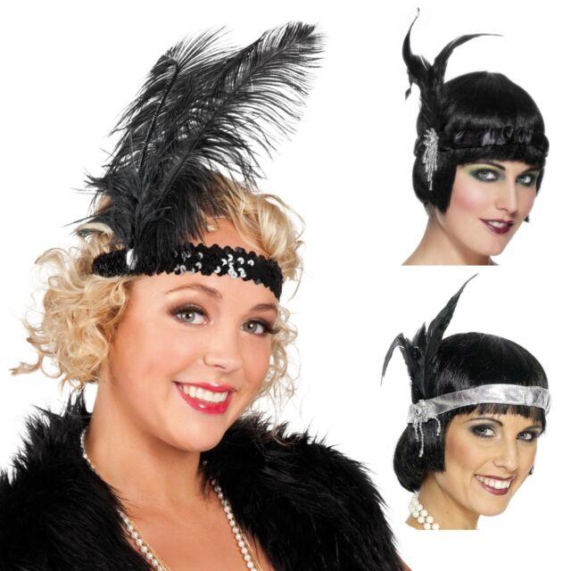German Trendseller®- 20er Jahre Charleston Kopfband mit Feder und Juwelen Kostüm