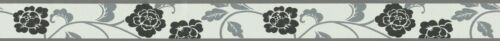 Autocollantes Fleurs Bordure Galon floral noir blanc gris argenté brillant