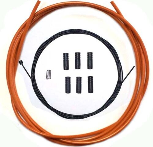 PTFE Coated inner Gear Cable Lined Orange Outer Sealed Ferrules MTB Bike 2M