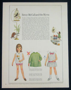 Betsy-McCall-and-the-myna-paper-doll-1-pg-clipping-1967-uncut