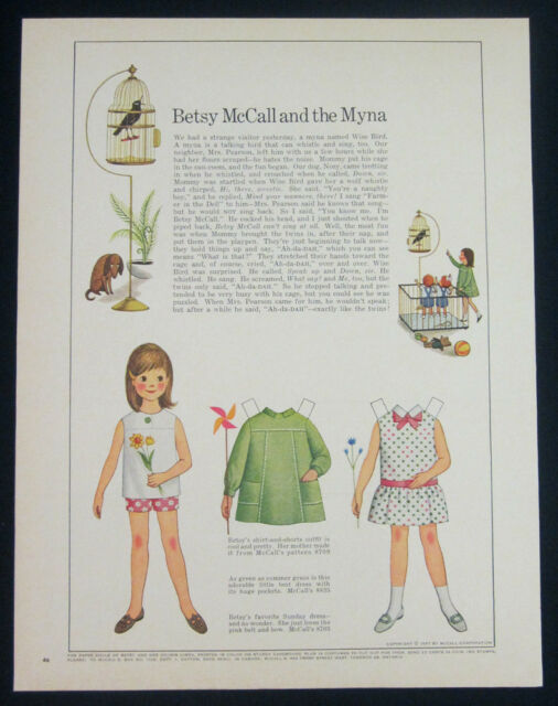 Betsy McCall and the myna paper doll 1-pg clipping 1967 uncut