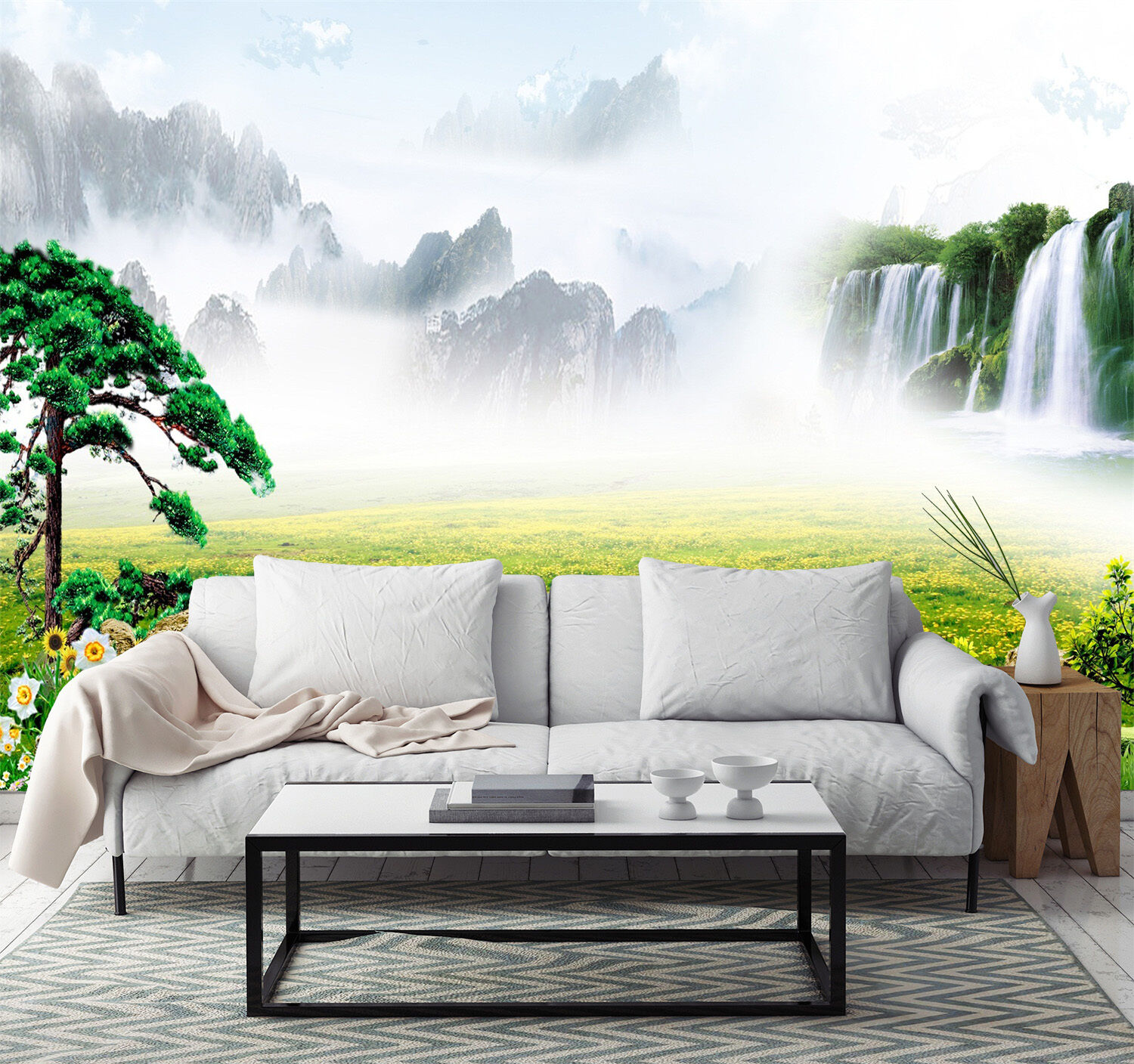 3D Grassland And Mountains 8 Paper Wall Print Wall Decal Wall Deco Indoor Murals