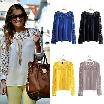 Women Sheer Embroidery Lace Crochet Chiffon Tops Long Sleeve Shirt Casual Blouse