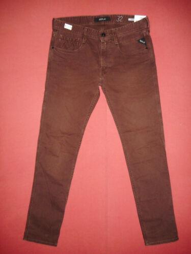 £135 Replay Rrp N8 Jeans Maroon Mens Denim Anbass L32 Slim W33 Fit X4wOYrq4