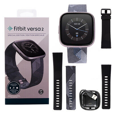 Fitbit Versa 2 Special Edition HR Smartwatch FB507GYGY Iron Mist Charcoal Woven 816137029957 | eBay