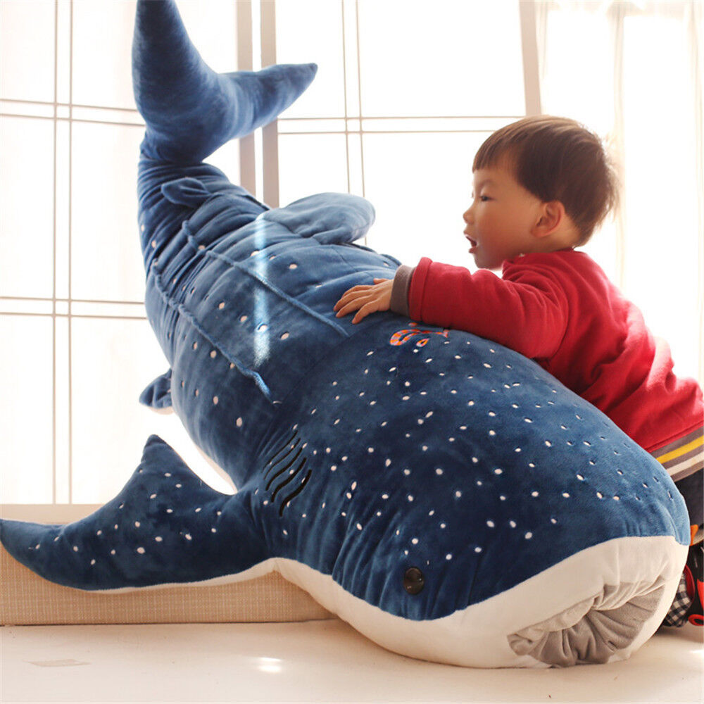 bluee Whale Giant Huge Soft Stuffed Animal Plush Doll Big Shark Pillow Party Toy